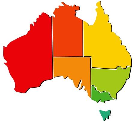 tasmania: Colorful Australia map