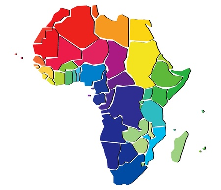 Detail Color Map Of African Continent With Borders Each State