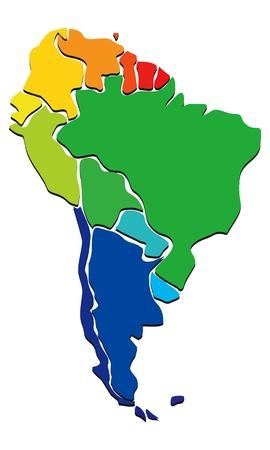 amerique du sud: Colorful Am�rique du Sud carte Illustration