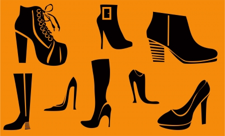 Set of fashion high heel woman shoes and boots  Vector