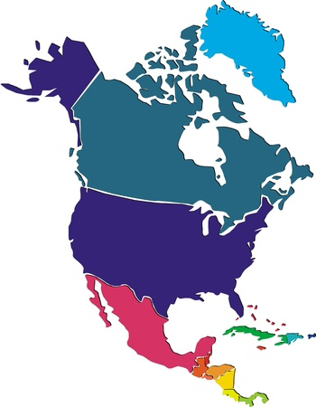 Colorful North America map