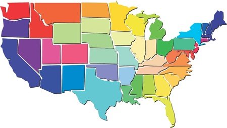 california state: Colorful USA map  Illustration