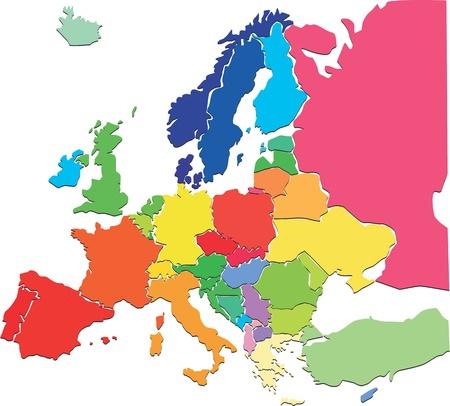 カラフルなヨーロッパ地図  イラスト・ベクター素材