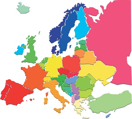 Colorful Europe map  Vector