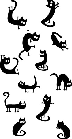 yellow tail: Set of funny cats Illustration