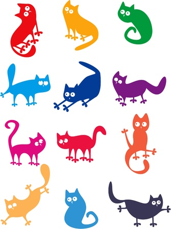 Set of funny cats Illustration