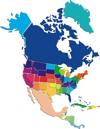 north america map: Colorful Nord America mappa