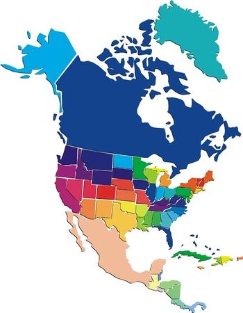 Kolorowe Ameryka Północna map Ilustracje wektorowe