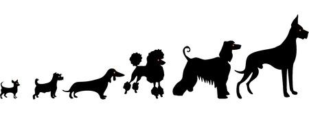 Siluetas divertidas del perro Ilustración de vector