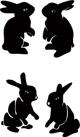 asian bunny: Set of chocolate bunnies  Illustration