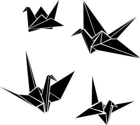 origami oiseau: Origami grues de papier Illustration