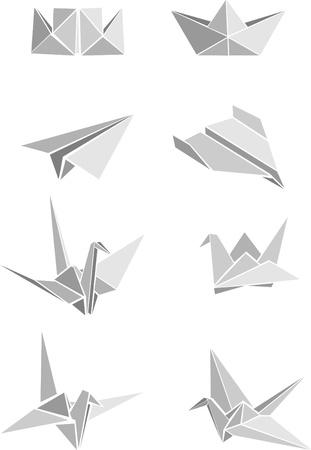 flying boat: Vecrot conjunto de barcos de papel origami, aviones y gr�as