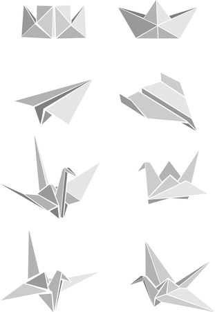 origami bird: Vecrot set of origami paper boats, planes and cranes Illustration
