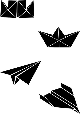 Origami paper boats and planes  向量圖像