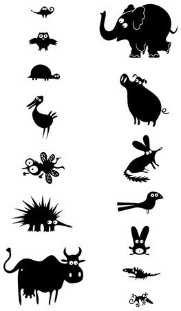 urchin: Set of black animal silhouettes  Stock Photo