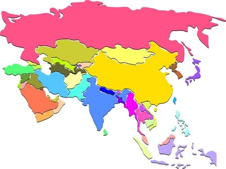 Colorful carte de l'Asie