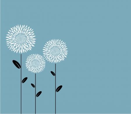 Three abstract flowers  Illustration