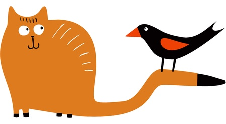 birdie: Funny cat and bird  Illustration