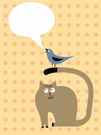Cat, bird and bubble speech Vector