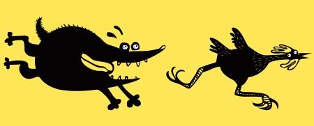 dog run: Funny running chicken and dog