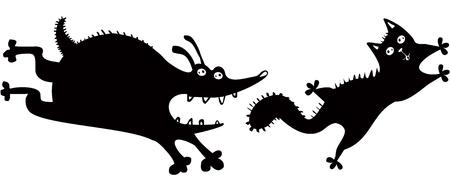 おかしい犬と猫  イラスト・ベクター素材