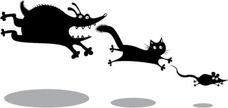 Divertente cane che corre, gatto e topo