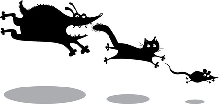 Divertido perro corriendo, gato y ratón