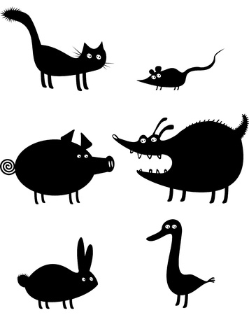 domestic duck: Funny animal silhouettes