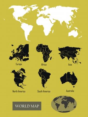 continente: Mapa del mundo Vectores
