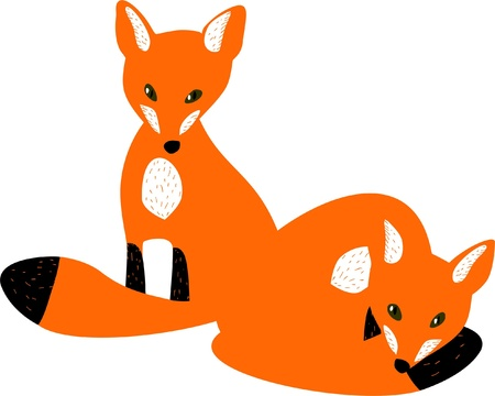 cuddling: Two red baby foxes