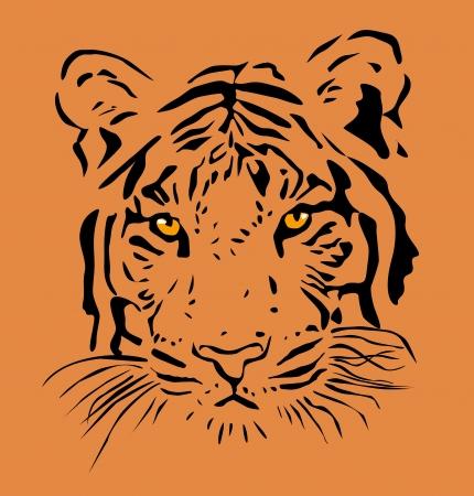 silueta tigre: Cabeza del tigre