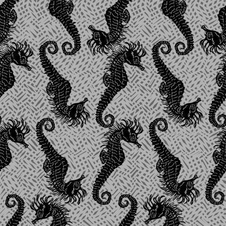 Seamless vector pattern with seahorses  Vector