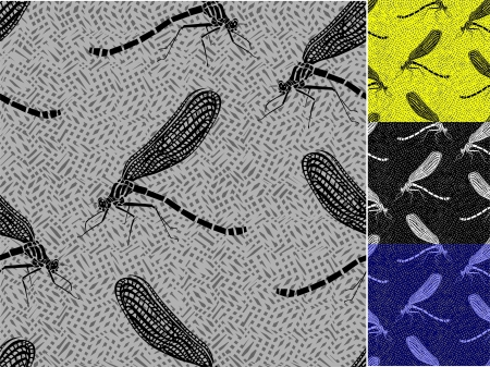 Set of seamless patterns with dragonflies  Vector