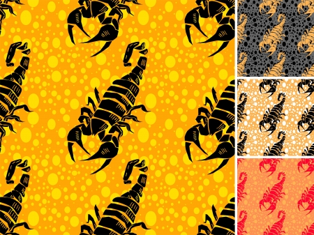 Set ot scorpion seamless pattern Vector