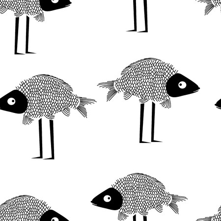 critter: Funny fish seamless pattern