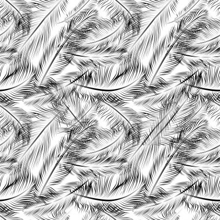 羽とのシームレスなパターン  イラスト・ベクター素材