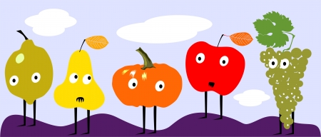 Funny autumn fruits  Vector