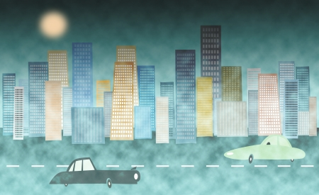 polution: Cityscape background with cars  Stock Photo