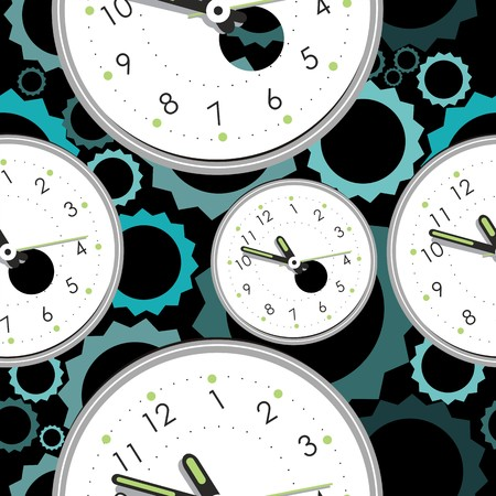Seamless pattern with clocks  Vector