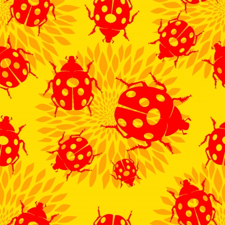 Seamless pattern with ladybirds and flowers  Vector