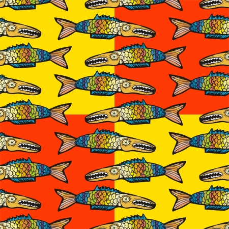 Colorful fish seamless pattern  Vector