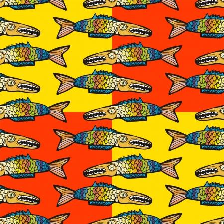 deep sea fishing: Colorful fish seamless pattern