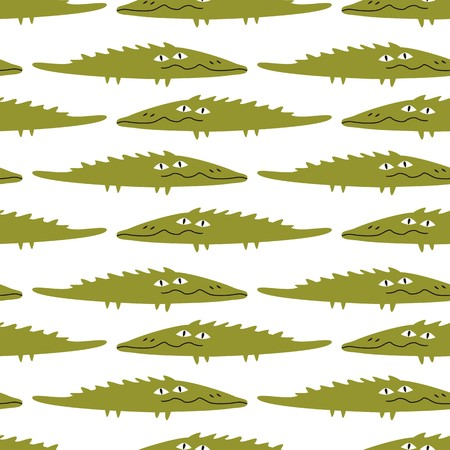 Funny crocodile, seamless pattern Vector