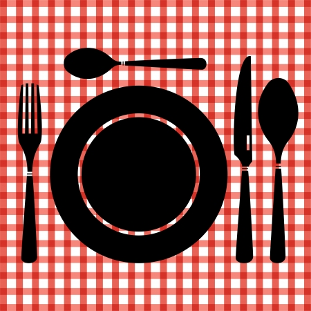 formal place setting: Table set on red checkered tablecloth  Illustration
