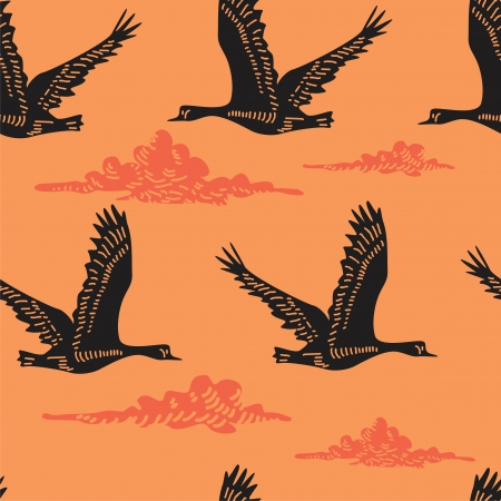 Flying geese - seamless pattern  Vector