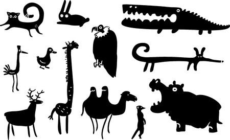 Conjunto de animales divertidos Ilustración de vector