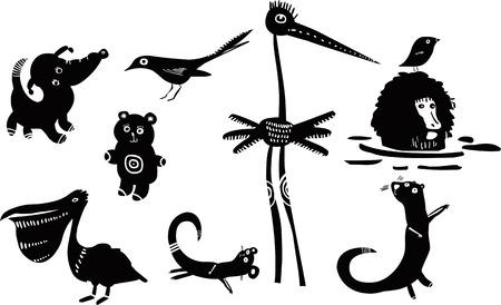nutria caricatura: Conjunto de animales divertidos Vectores