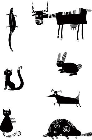 funny animal: Conjunto de animales divertidos Vectores