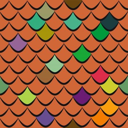 shingles: Roof tiles seamless pattern Illustration
