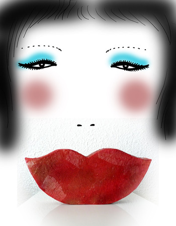 Brunette woman with red lips